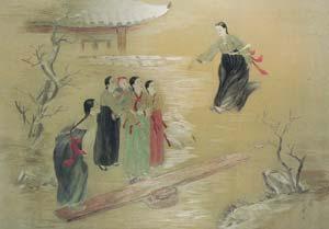 本作品是1963年周恩来总理赠给苏州刺绣研究所的朝鲜绣《少女》   贵
